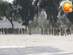 Jan 29 2013 Female Israeli Soldiers March through Aqsa Compound - Photo by QudsMedia 29