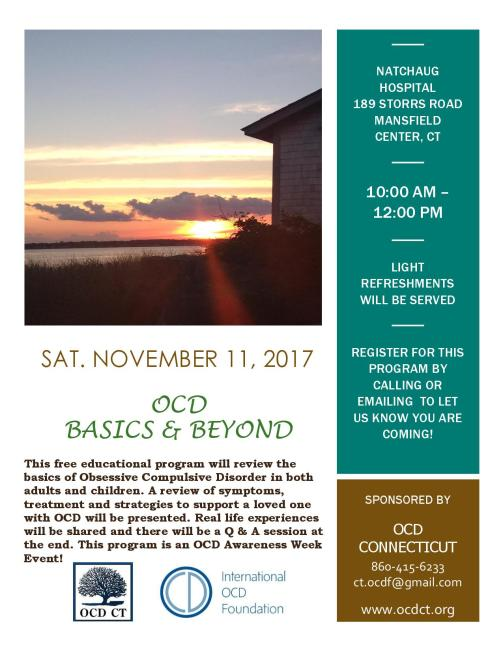 OCD Basics & Beyond-Mansfield Center, CT Nov. 11, 2017