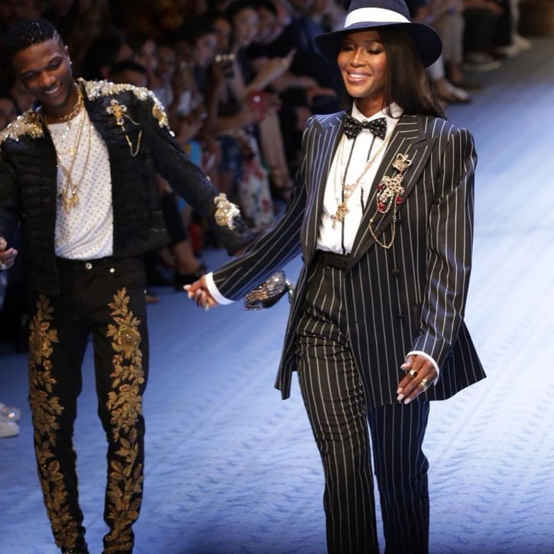 Wizkid's success story took to another dimension in 2018 when he hit the runway with fashion icon and model, Naomi Campbell for Dolce and Gabbana and the Internet went into a frenzy [Instagram/WizkidAyo]