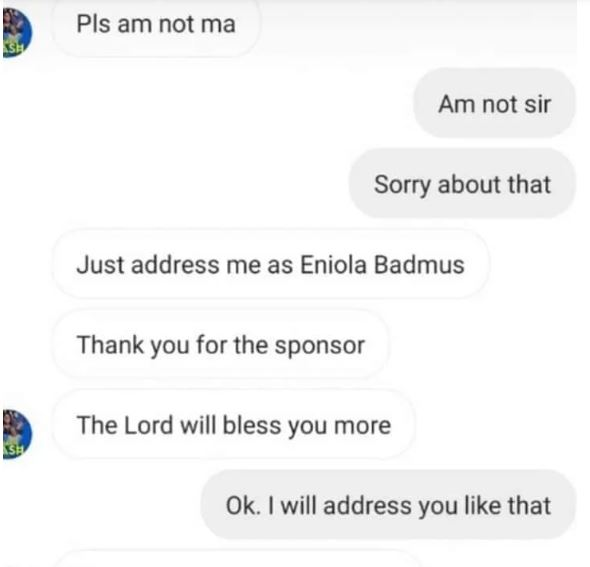 The Alleged Conversation Between Eniola Badmus And The Sponsor [Laila]