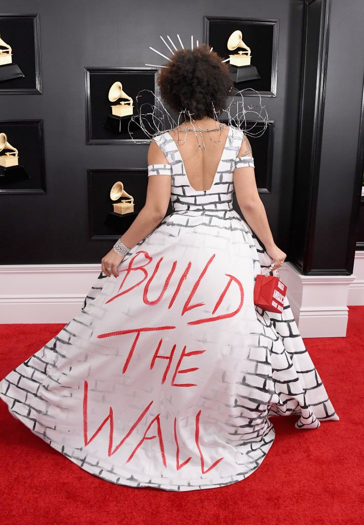 Joy Villa in a 'Build the Wall' dress