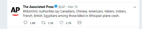 A tweet by AP on the causlties of the Ethiopian Airlines plane crash