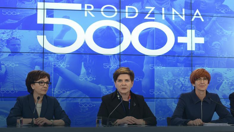 Premier Beata Szydło (C), szefowa gabinetu politycznego premiera, rzecznik rządu Elżbieta Witek (L) i minister rodziny, pracy i polityki społecznej Elżbieta Rafalska (P)