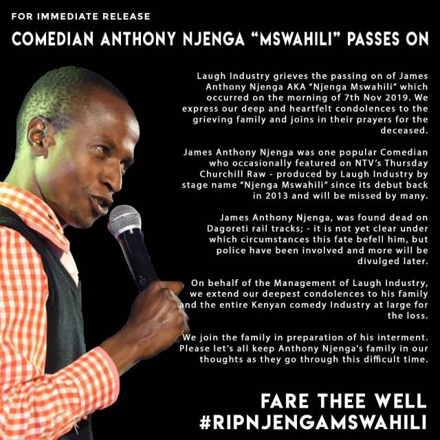 Churchill mourns death of comedian Njenga Mswahili