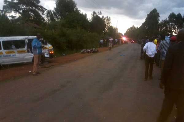 Scene in Salaik village in Bomet County where a matatu hit two motorbikes and killed four people on March 12, 2019 (Daily Nation)