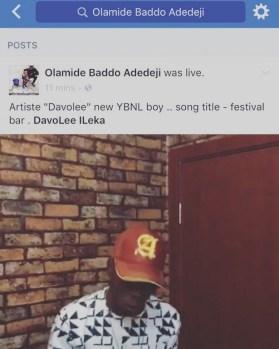 Olamide announces Davolee's signing toYBNL. (Facebook/Baddosneh)