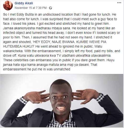Churchill show's Eddie Butita forced to respond after accusations of snubbing a fan in public