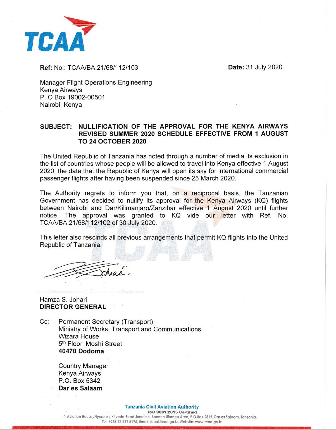 TCAA notice banning Kenya Airways from accessing the Tanzanian airspace