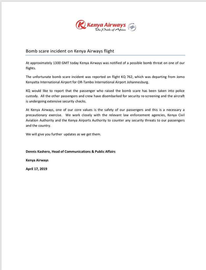 Kenya Airways statement over a bomb scare at JKIA