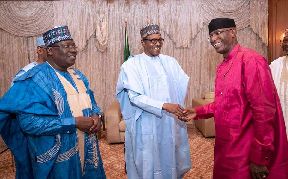 Sen. Ovie Omo-Agege and Ahmad Lawan are received by President Buhari at the villa after winning their elections as presiding officers of national assembly (Presidency)
