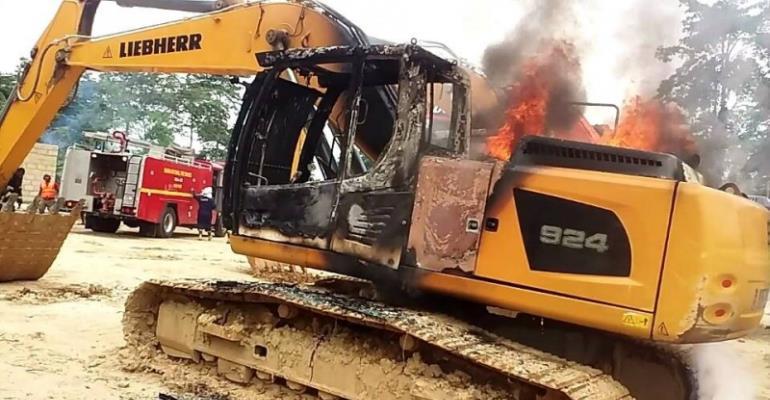 Galamsey excavator burnt