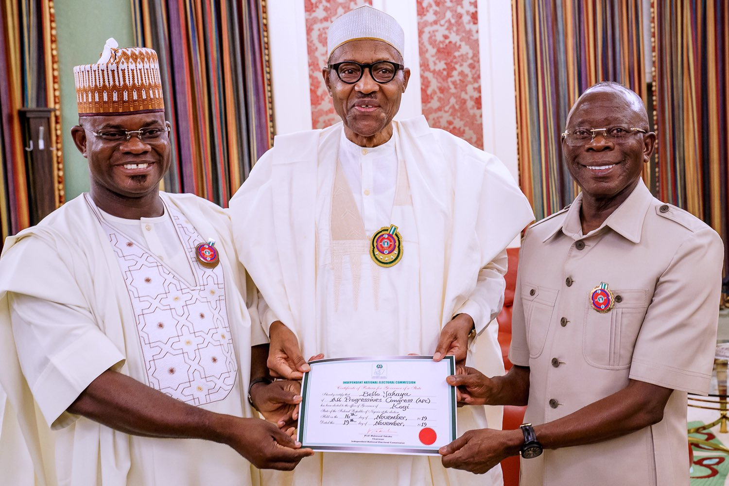 Gov. Yahaya Bello Of Kogi, Has Felicitated With Mr Adams Oshiomhole, National Chairman Of The All Progressives Congress (apc), On The Occasion Of His 68th Birthday Anniversary Celebration. In A St