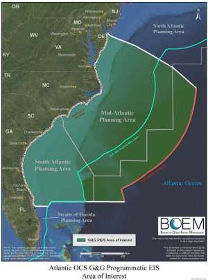 Area of the Atlantic ocean where seismic surveys are planned.