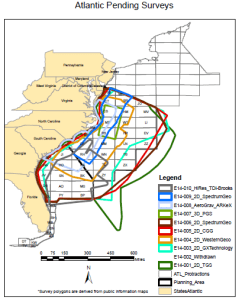 Multiple overlapping seismic survey areas