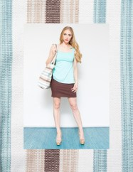 Tie-strap Tank with Linen Skirt and Canvas Beach Tote