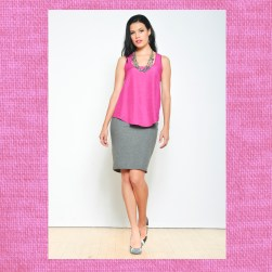 Ocean Avenue Cranberry Top with Grey Knit Pencil Skirt