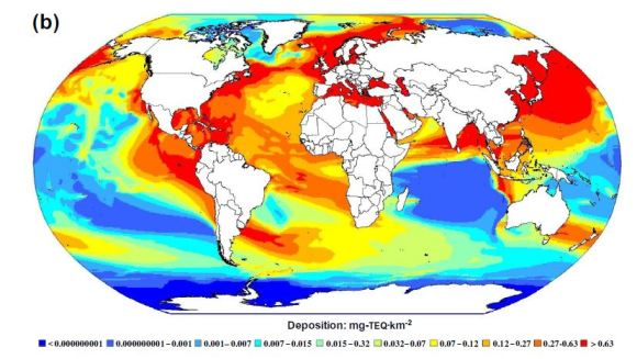 Deposition of dioxin from terrestrial emissions into the world's oceans over one year of atmospheric transport