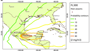 Ash distribution model of probability of areas disrupted at jet cruising altitudes.