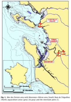The location of the two sampling sites along the French coast.