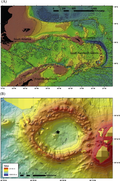 Figure 1: A) Bathymetry of the Scotia Sea, the small black box shows the location of the whale fall. B) Bathymetry of the Kemp Caldera. The star shows the skeleton's location.