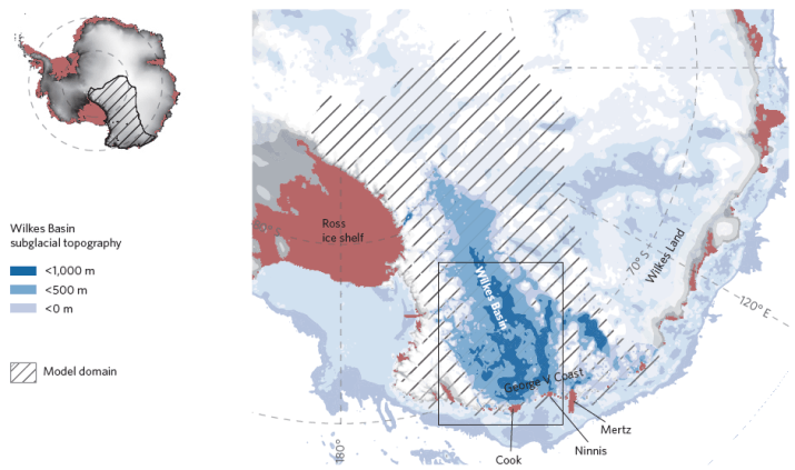 Figure 1.  Regional map showing the location and sub-glacial topography of the Wilkes Basin.