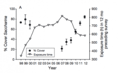 Fig 4: This figure shows the percent cover of S. sessilis throughout the years of the study. Also shown is the exposure time.