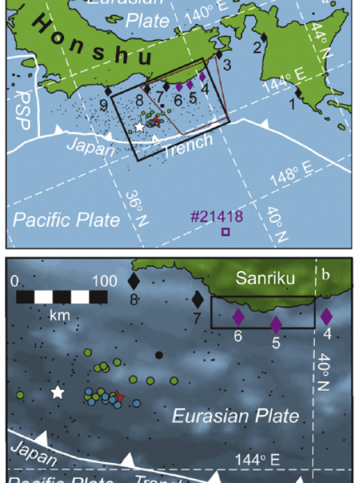 Location of earthquake source through tsunami inversion techniques (blue and green circles); average earthquake source location (red star); Global Centroid Moment Tensor Project source location (white star).  Note the nearly 60 km NNE offset between average source location from inversion techniques and the GCMT project source location implicates a secondary tsunami source.