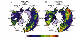 Mean leaf area index (LAI) in the growing season (May to September) for (a) present conditions and (b) future conditions under double the amount of CO2. (Jeong et al.)