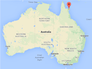 The location of Lizard Island is marked by the red bubble.