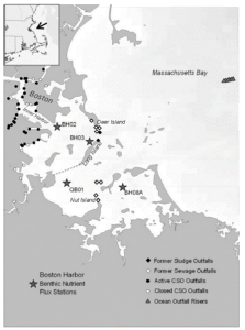 Table 1: Map of Boston Harbor with the sampling stations for this study.