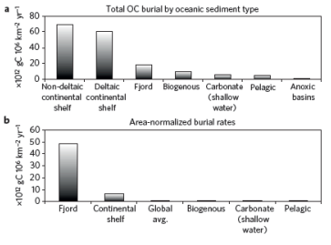 Figure 1: New global model of OC burial based on sediment type. (a) Absolute yield of OC buried annually in each sediment type. (b) Area-normalized annual OC burial yields.