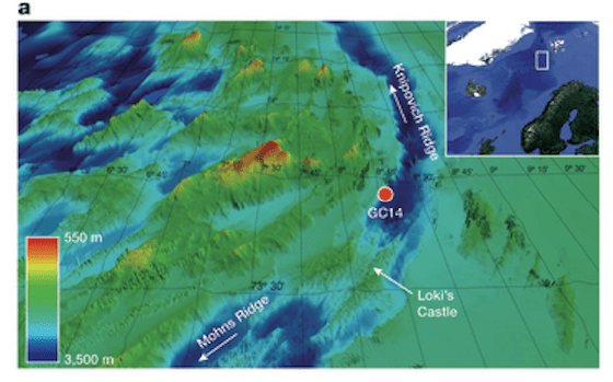 "Really sunken treasure. Collection site of 10-gram ""gravity"" core analyzed in the study indicated by red dot)."