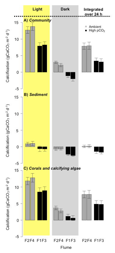 Figure 2: Results of whole community (a), sediment (b), and macro-calcifiers (c) between replicate flumes, the ambient and high CO2 conditions and between day and night.