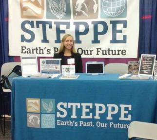 Preparing to talk to students, researchers, and all scientists from different backgrounds at the STEPPE exhibit hall booth.