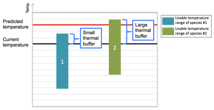 Figure 2. Example species #1 and species #2 living in the same environment. Each species can survive in a different range of temperatures. The current temperature is near the top of the range for species #1, so the predicted warming is too much for it to handle. Species #2 has a larger thermal buffer and can tolerate the predicted warming.