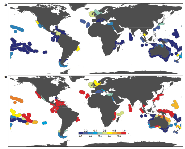 Figure 3. Proportion of fish and invertebrate species in present-day communities likely to exceed their upper realized thermal limit by 2025 (top) and 2115 (bottom) (Fig. 3 in paper)