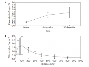 Fig. 7: Data collected on mean chlorophyll levels before and after the passage of an iceberg (a) and mean chlorophyll concentrations found surrounding icebergs (b). Notice the persistence of high chlorophyll over time as well as the broad spread of chlorophyll.