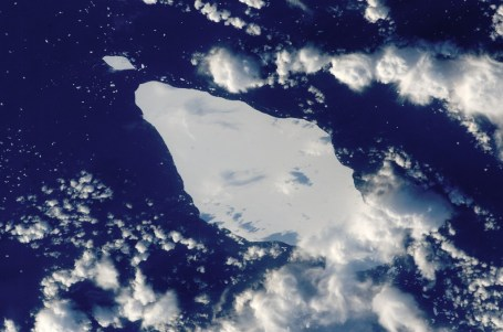 Giant iceberg in the South Atlantic. In June 2002, it was measured 50 km by 23.5 km. Credit: NASA Earth Observatory.