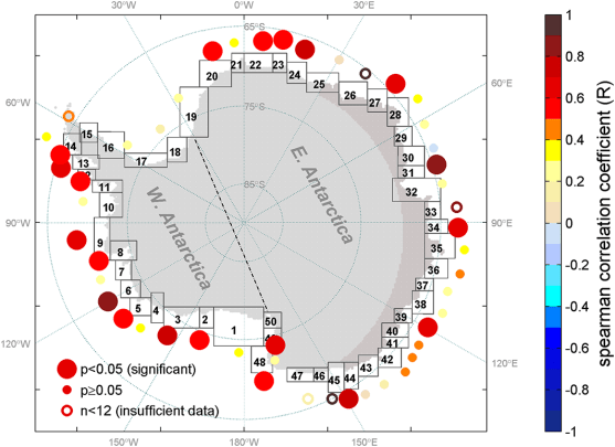 Figure 3 from Li et al. (2016), showing significant correlation between light onset day and bloom initiation day at each polynya.