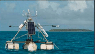Figure 2: An eddy covariance tower floating over the reef on pontoons