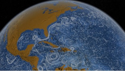 NASA's Perpetual Ocean depicts circulation throughout the ocean represented by white lines of various sizes. The large ribbon-like features are deep currents; the small dash-like features are shallow currents; circular features represent pieces of currents that have broken off and traveled throughout the ocean. Source: NASA/SVS