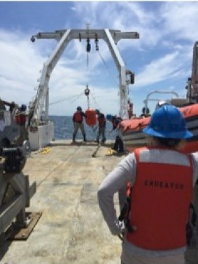 Recovery of sediment trap array onboard the R/V Endeavor. Image Credit: Jennie Warmack, June 2016