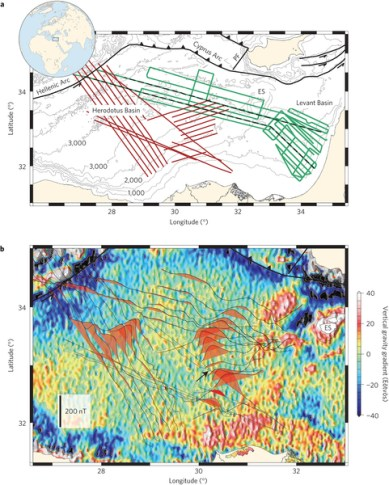 Figure 2(a): Tectonic map of the eastern Mediterranean. The green and red lines show the tracks of the RV Mediterranean Explorer and the RV L'Atalante, respectively. (b) Magnetic anomalies superimposed on a gravity gradient map derived from satellite altimetry. The magnetic anomalies are plotted along tracks. Red shading indicates positive anomalies. Black arrow shows the location of reduced anomalies. Credit: Roi Granot/Nature Geoscience.