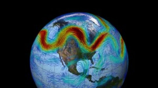 Image showing the meandering jet stream, with high wind speeds (red). From NASA.