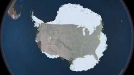 Figure 2: Antarctica overlaid with the United States (Source: nasa.gov)