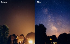 Fig. 1. Light pollution obstructs clear nighttime skies, substituting high levels of artificial light during what should be dark hours. This image shows the night sky before and after a large blackout in the US, when 55 million people lost power and the skies approached natural darkness. Image credit: Todd Carlson, via darksky.org