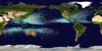 Cumulative tracks of all tropical cyclones from 1985-2005 (by Nilfanion, Wikimedia) https://en.wikipedia.org/wiki/Tropical_cyclone#/media/File:Global_tropical_cyclone_tracks-edit2.jpg