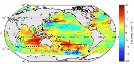 Figure 1 from Volkov et al. 2017. Map of path along which deep-ocean temperature measurements were taken in 2005 and 2014 (labeled on map as P16).