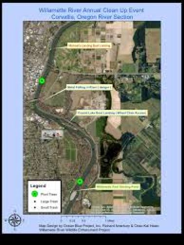 Map of the Willamette River in Corvallis,  Oregon cleanup area.
