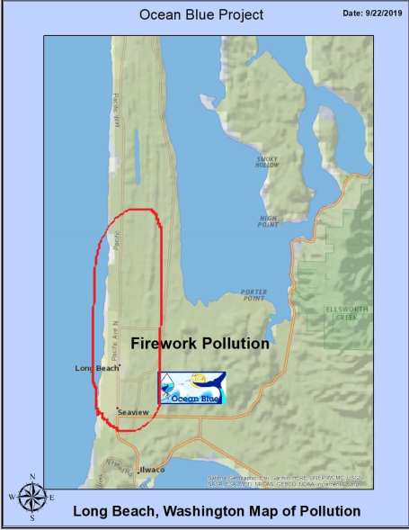 Map of plastic pollution found on beaches left by humans shooting fireworks.